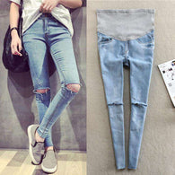 Light Blue Hole Denim Maternity Jeans