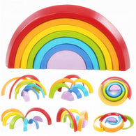 Creative Kids' Rainbow Building Block Set (7 Pieces)