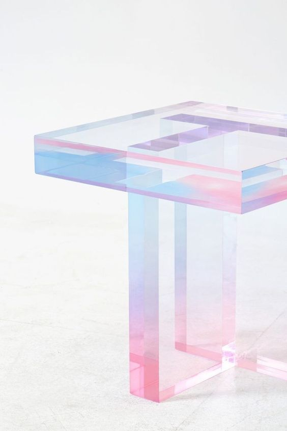 opalescent acrylic resin table