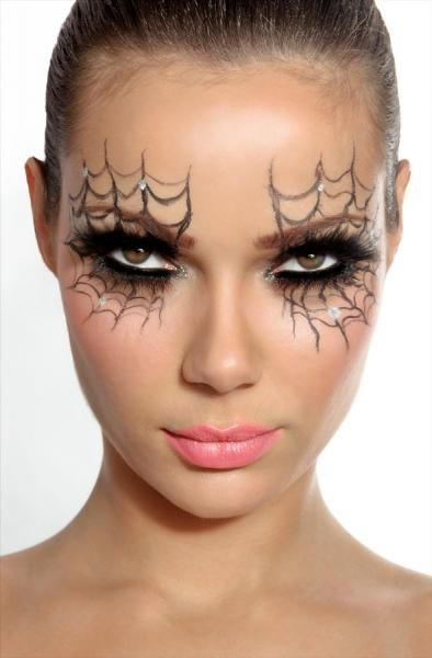 pretty halloween makeup spider webs around eyes