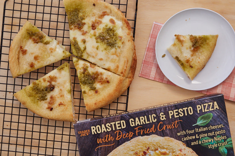 Trader Joe's Roasted Garlic & Pesto Pizza with Deep Fried Crust