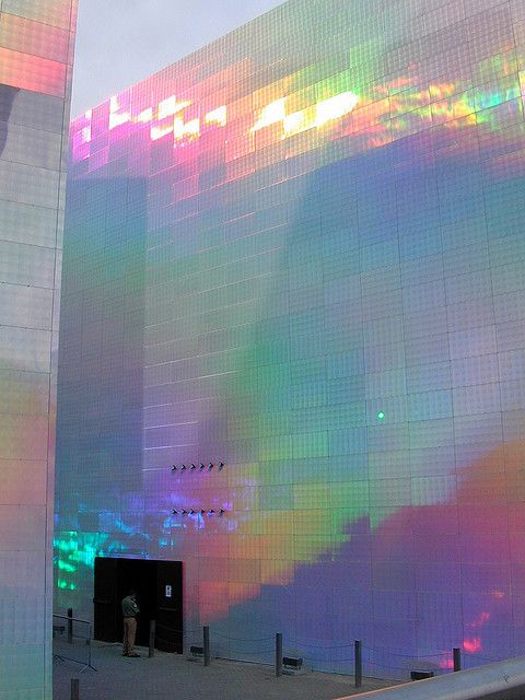 Guggenheim Bilbao opalescent holographic building covering