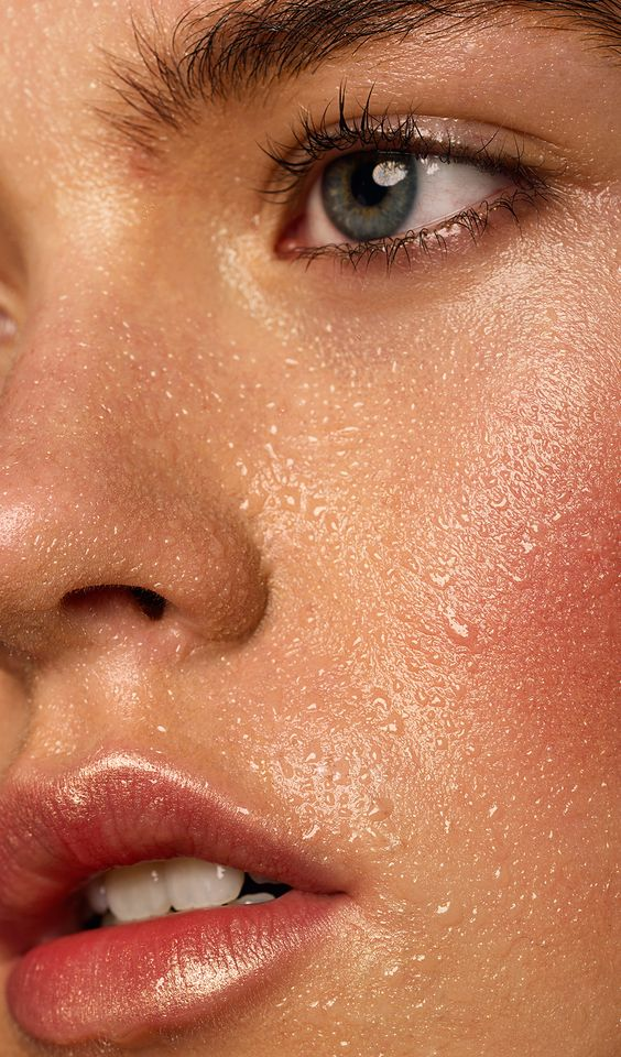 sweaty woman's face