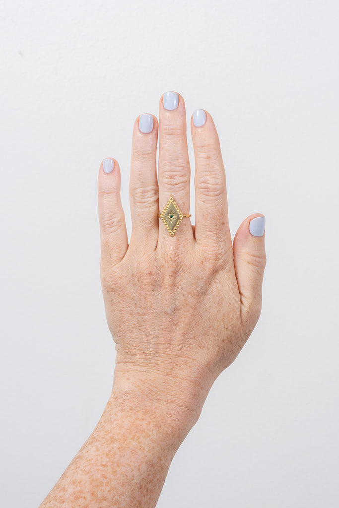 vermeil diamond shaped adjustable ring on model hand by Janna Conner