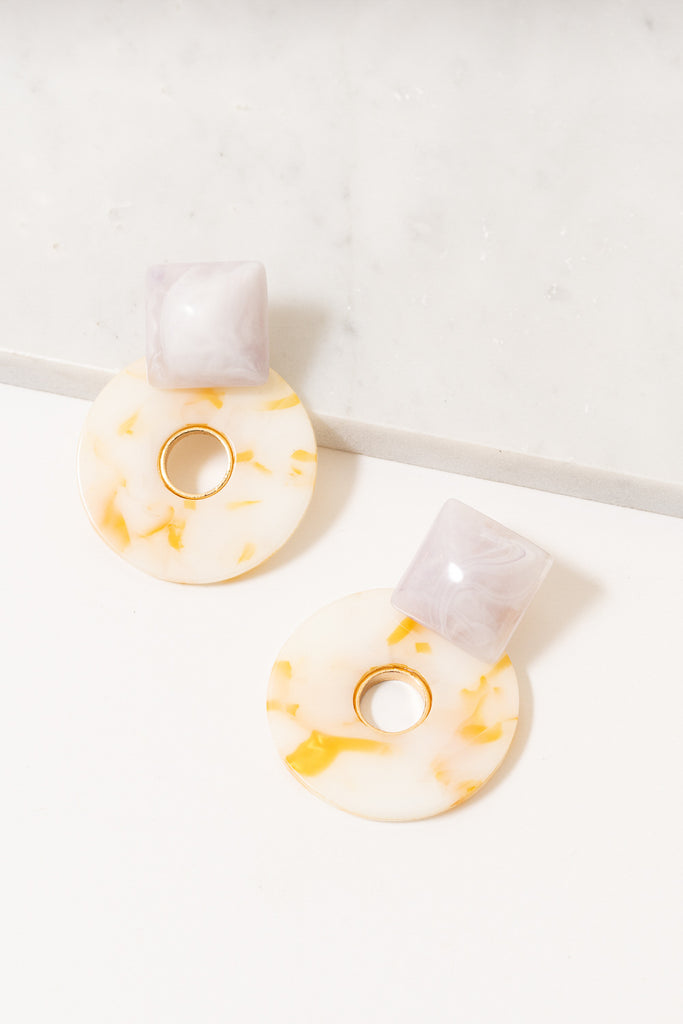 yellow and white acrylic statement earrings