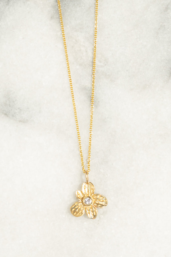 white sapphire flower necklace