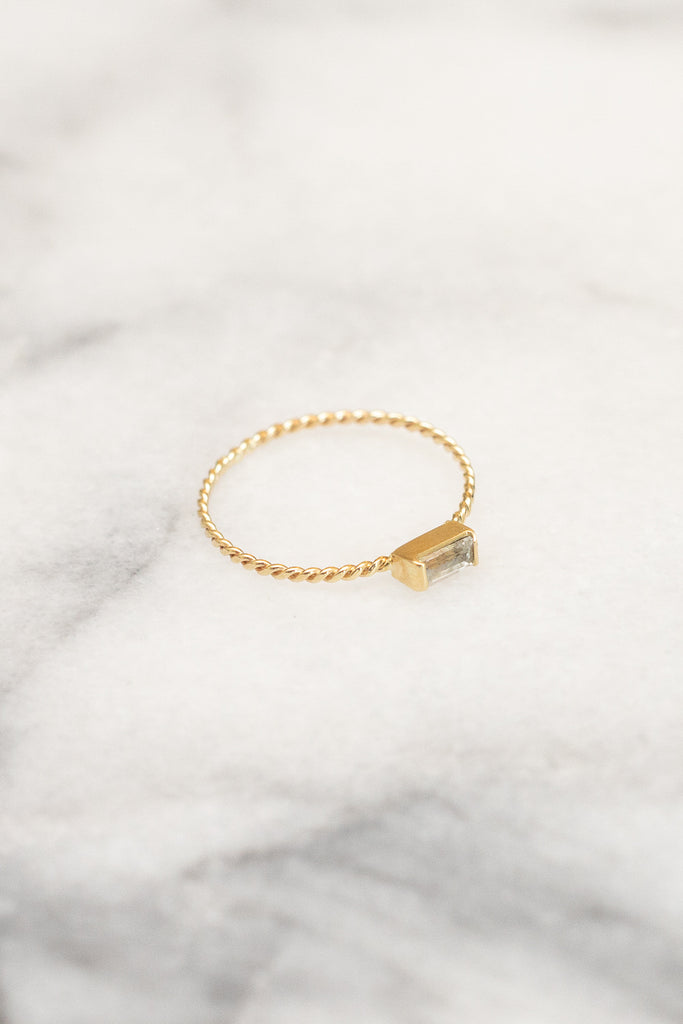 white sapphire baguette gold stacking ring