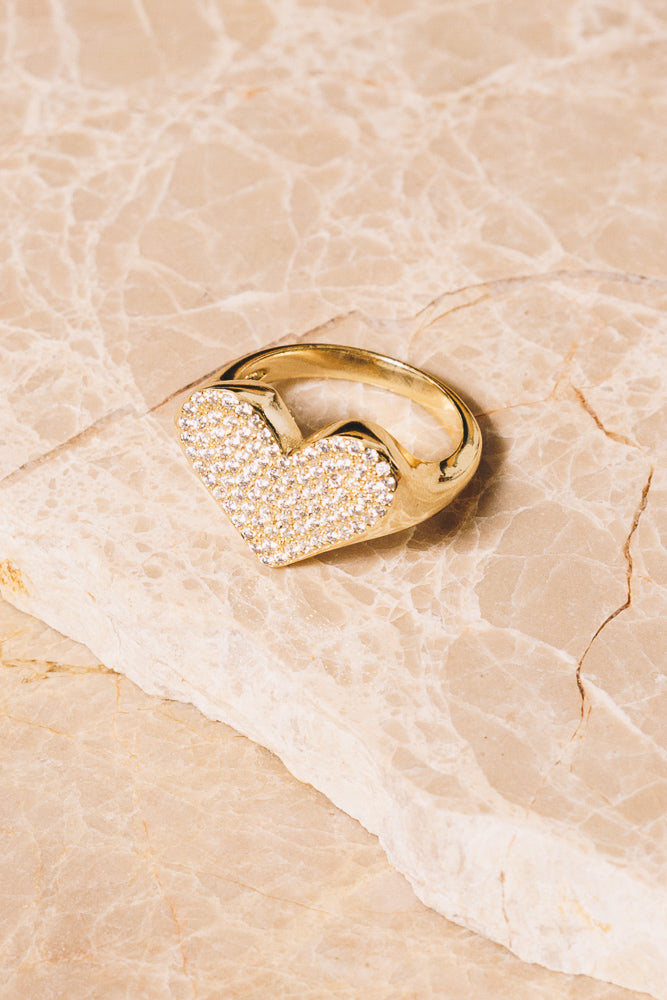 gold crystal heart statement ring