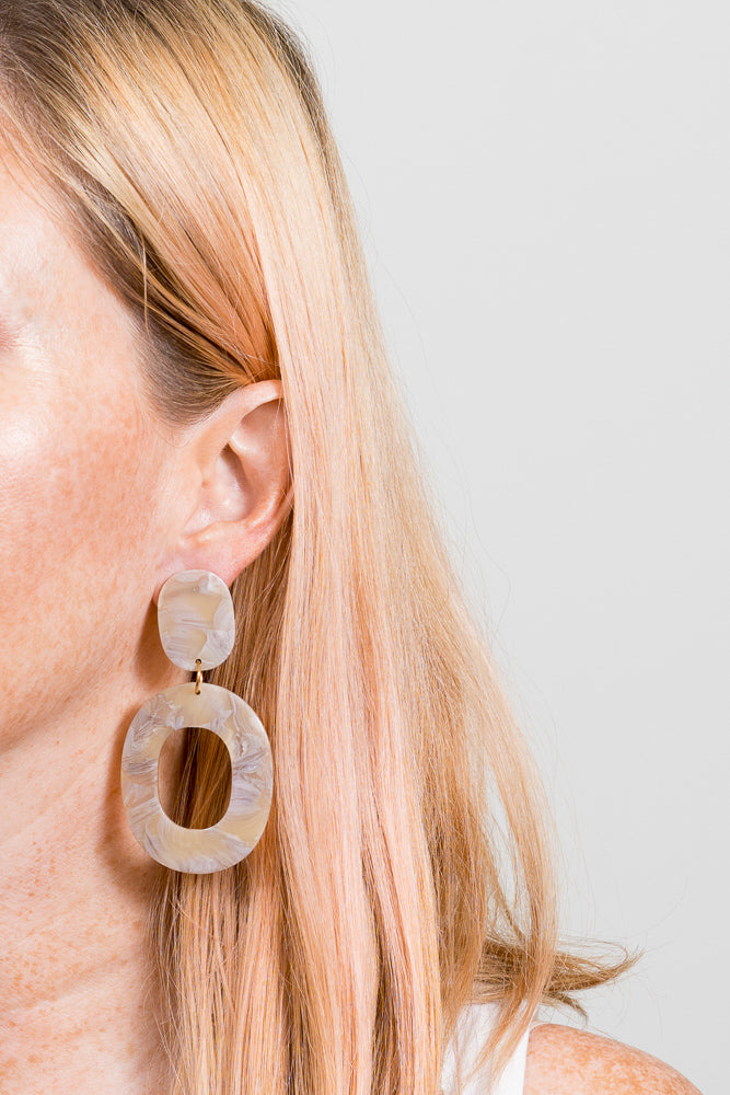 Larrimore Acrylic Large statement marble earrings janna Conner