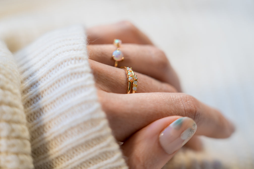 opal stacking rings gold stacking rings