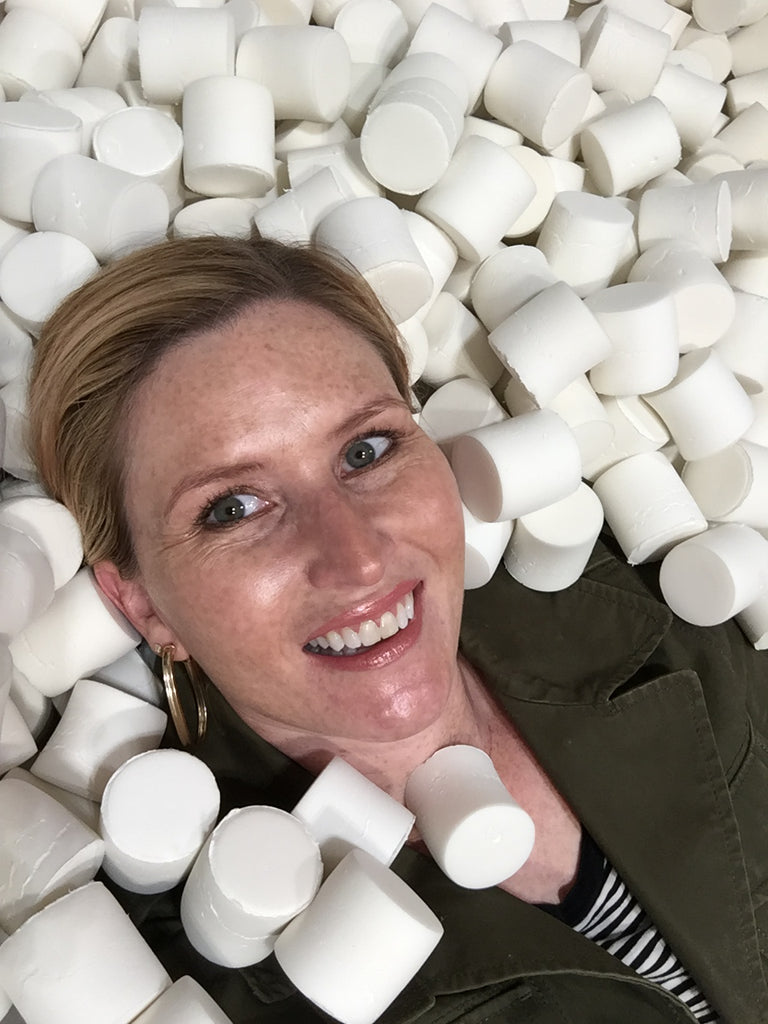 woman in marshmallow pit at candytopia