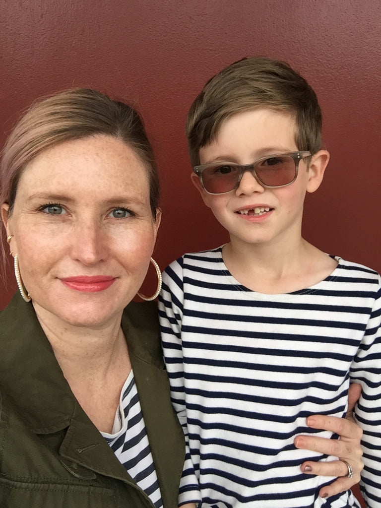 janna Conner and son with marine striped t shirts