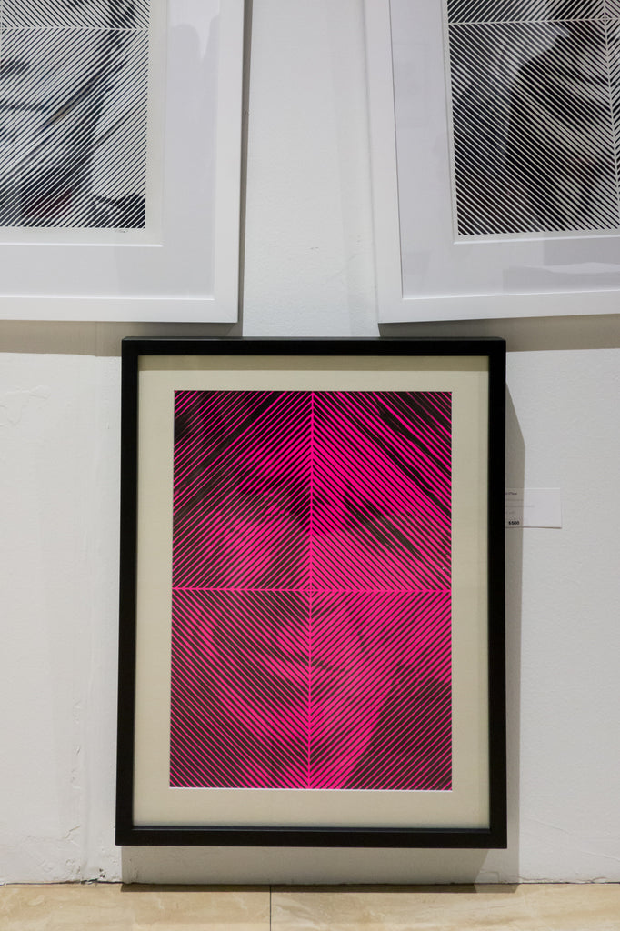 neon pink Keith Richards drawing by Michael o'neal at the other art show la