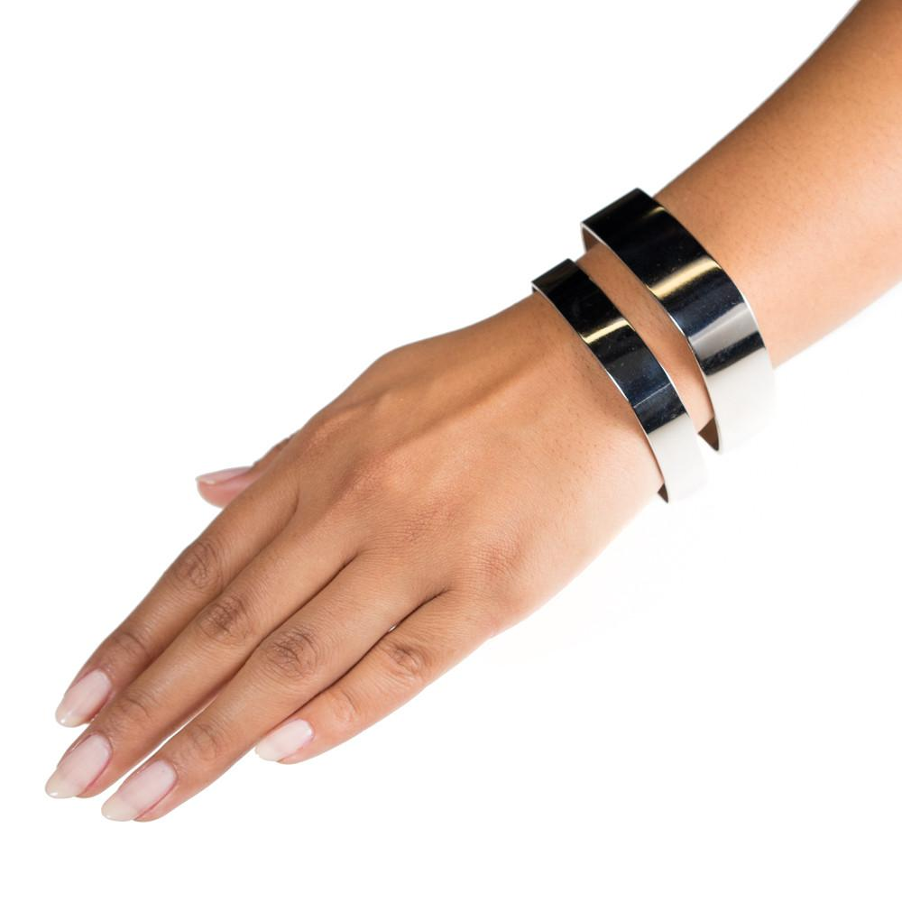 square metal rhodium plate silver bangle bracelets on model by Janna Conner