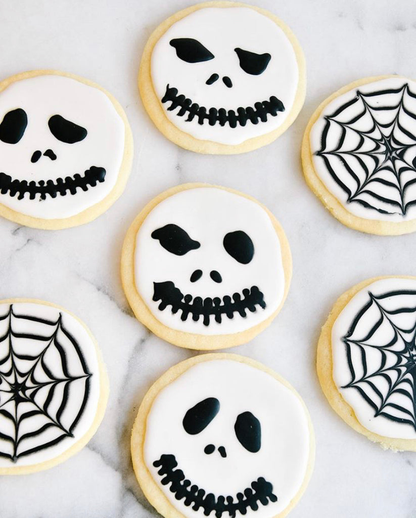 halloween skull and spider web cookies