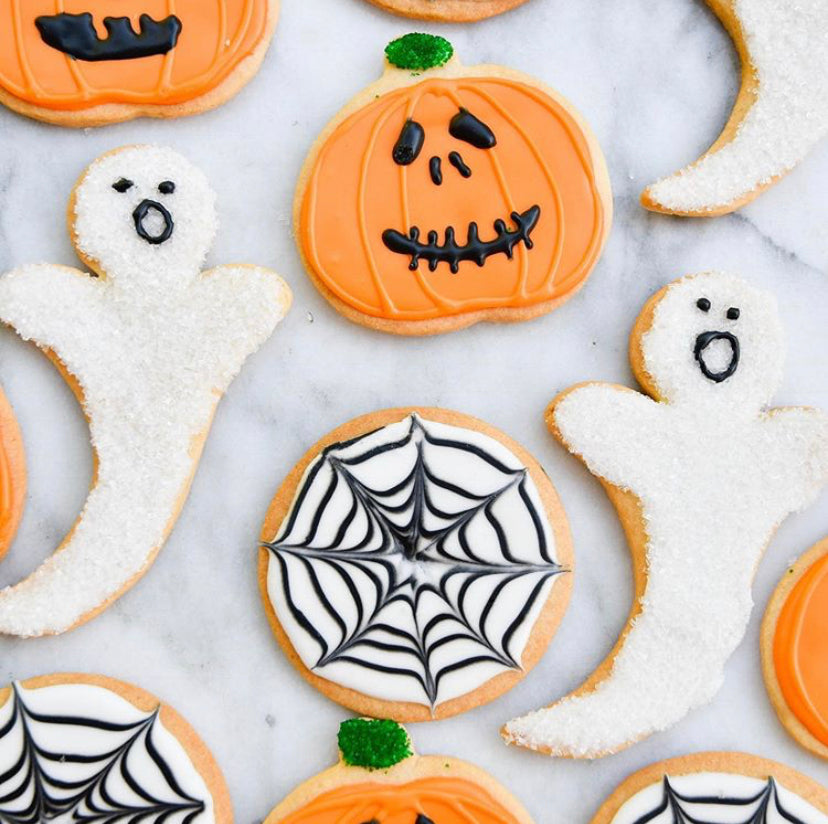jack o lantern spider web and Ghost halloween cookies