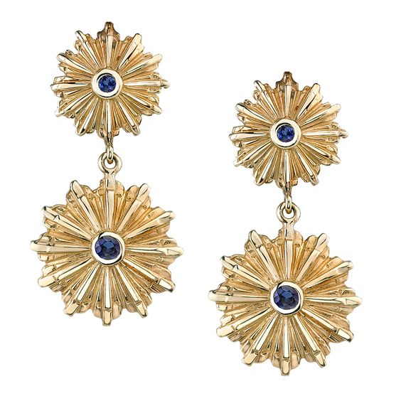 blue sapphire Art Deco starburst drop earrings