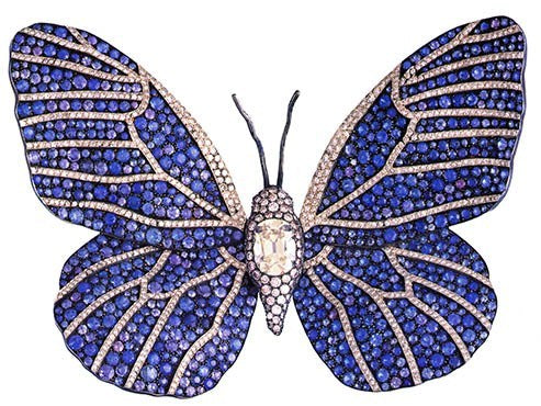 Joel robuchon butterfly sapphire and diamond brooch