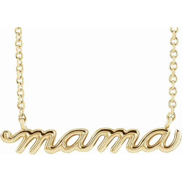 gold mama script necklace 14k gold