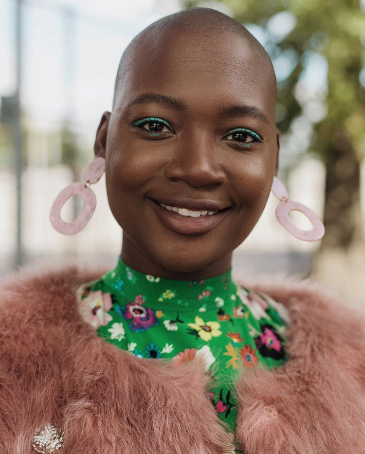 Cacsmy Brutus in Janna Conner pink larrimore earrings