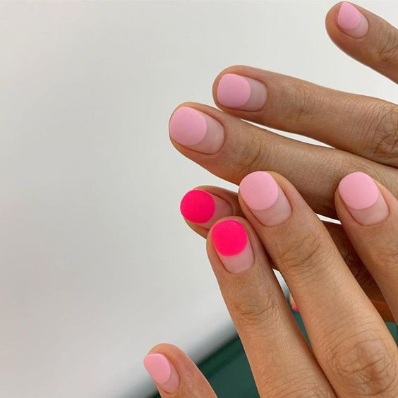 matte pink negative space nail art