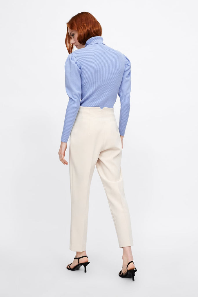 Zara white high waist trousers on model