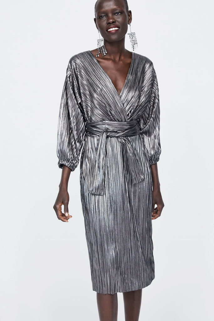 gunmetal grey lame wrap dress Zara on model
