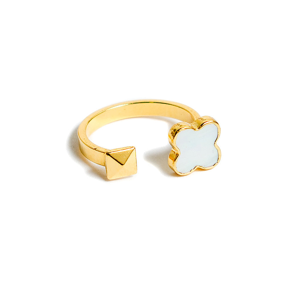 mother of pearl clover and gold pyramid stud open ring