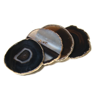 black agate coaster set with gold edges