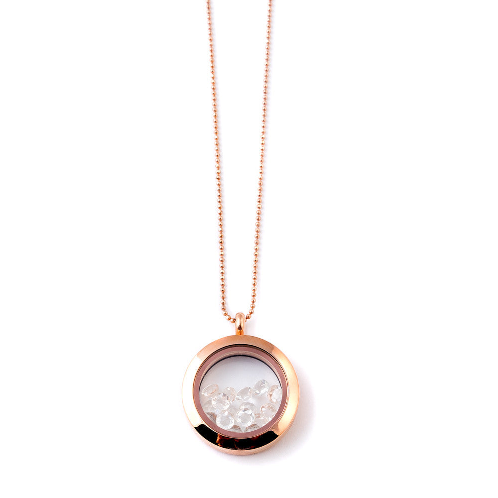 rose gold shaker locket with rose cut white topaz stones