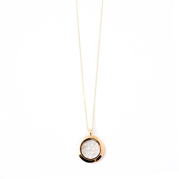 yellow gold white topaz shaker locket