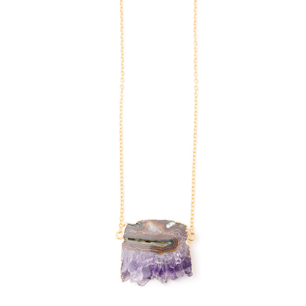 rough geode amethyst slice necklace
