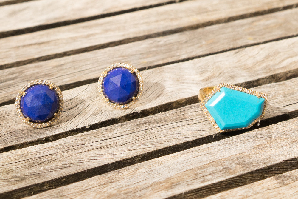 rose cut lapis and diamond stud earrings with sleeping beauty turquoise and diamond cocktail ring Janna Conner