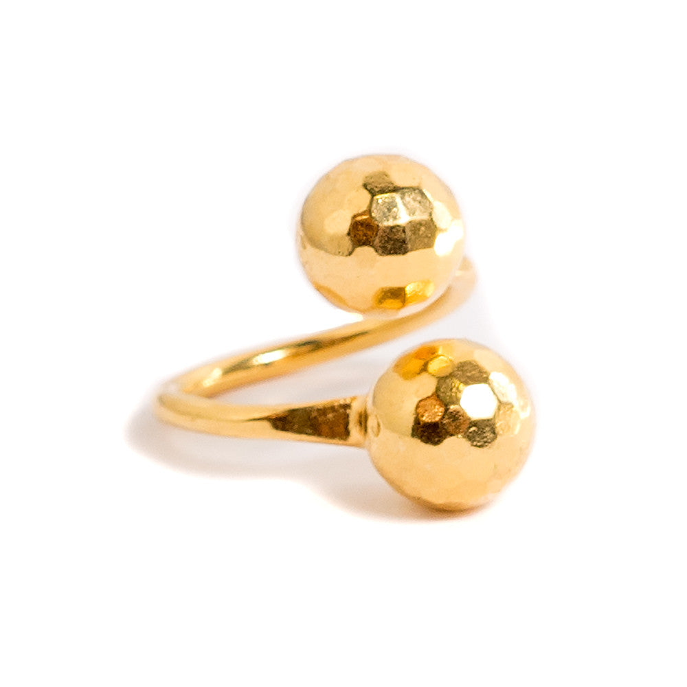 gold disco ball wraparound ring