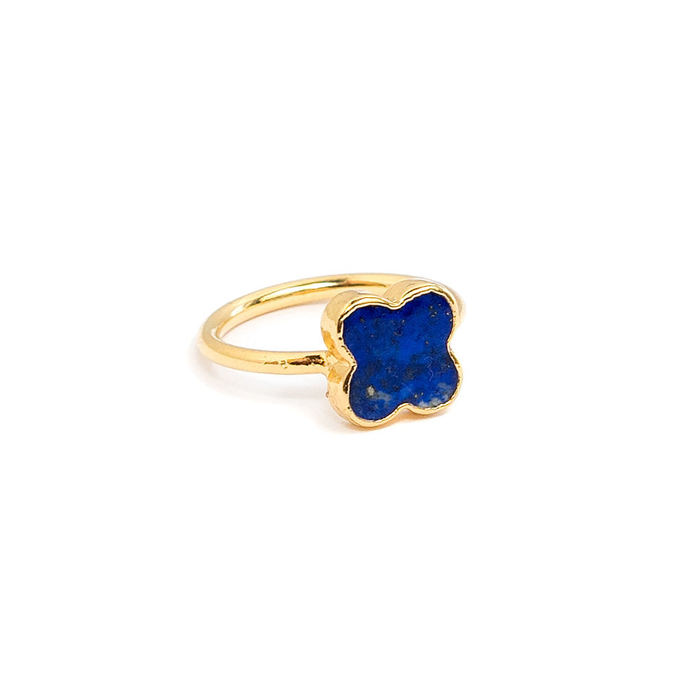 lapis clover stacking ring