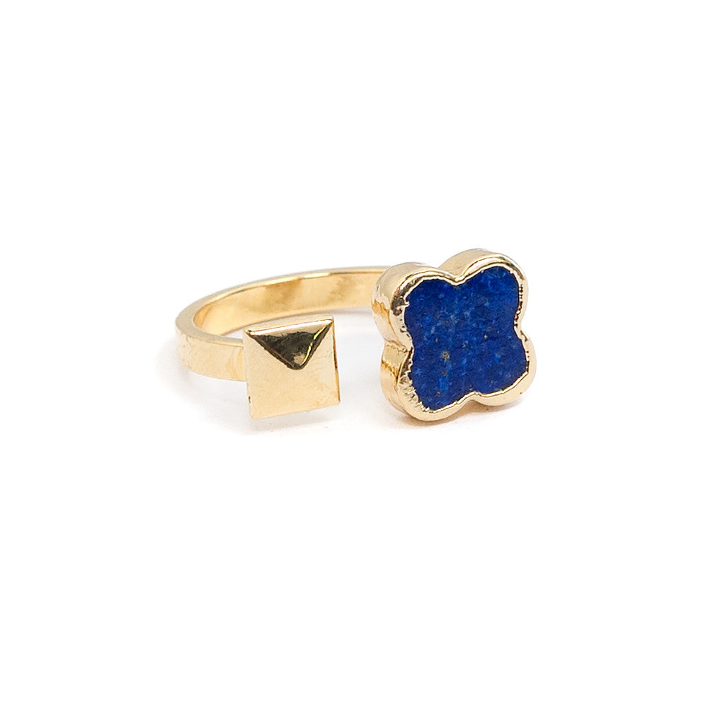 Lapis clover ring with gold pyramid stud open stacking ring