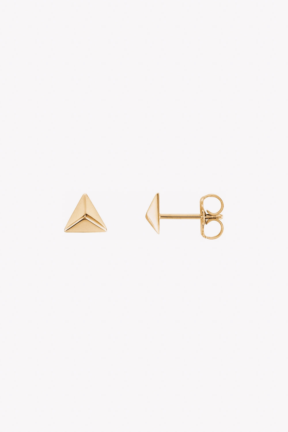 14k gold triangle pyramid stud earrings side view
