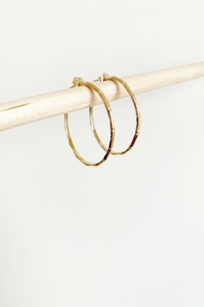 thin gold medium bamboo hoop earrings