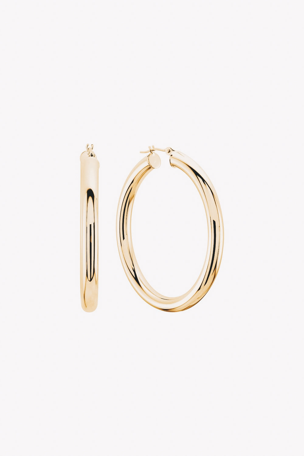 14k gold tube hoop earrings