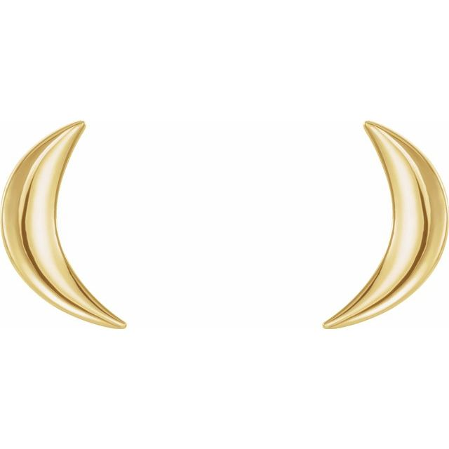 14k gold crescent moon stud earrings