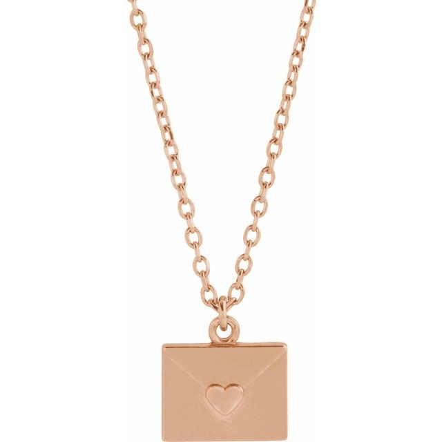 rose gold valentine heart envelope necklace