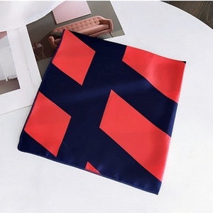 red and navy geometric print scarf