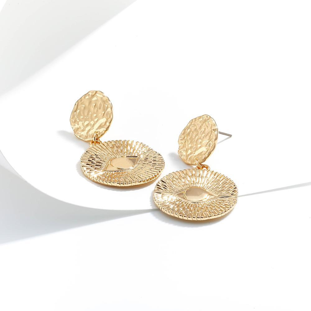 gold hammered medallion dangle earrings