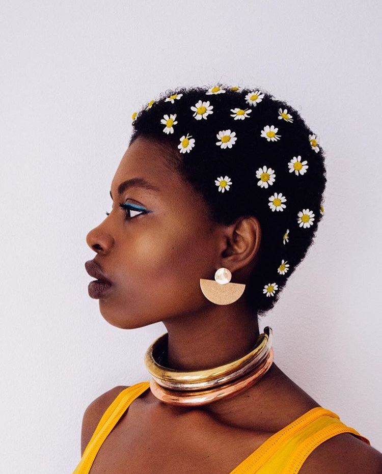 fan shaped earrings on Paola mathe daisies mini afro janna conner