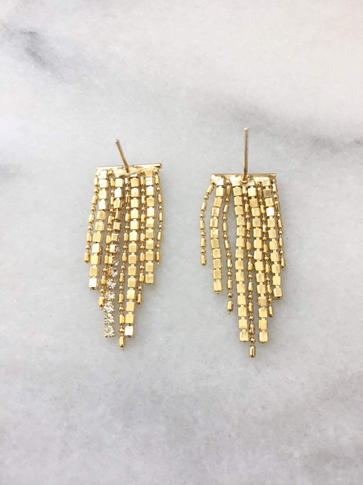 Cynan Swarovski Fringe Earrings | 18k Gold Plating | Janna Conner