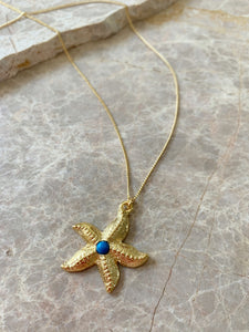 starfish charm necklace closeup