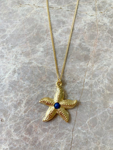 starfish charm necklace with lapis cabochon