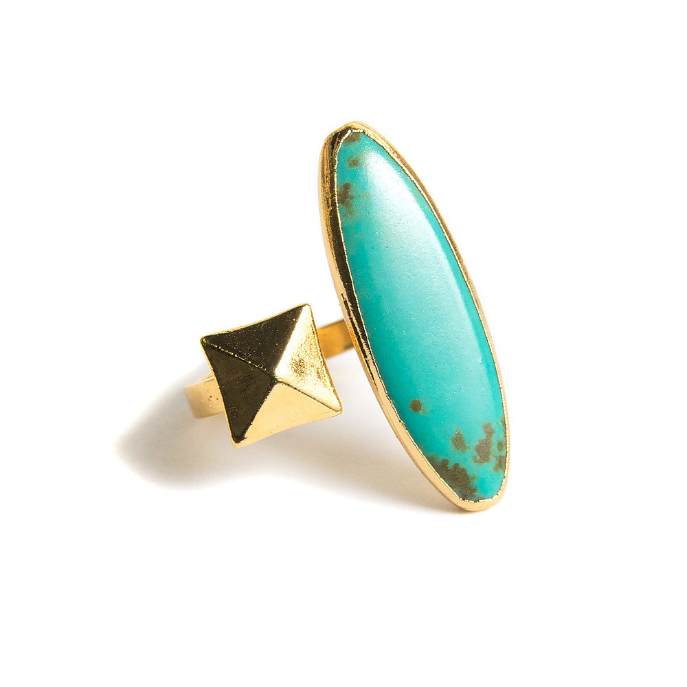 turquoise marquis pyramid stud open ring