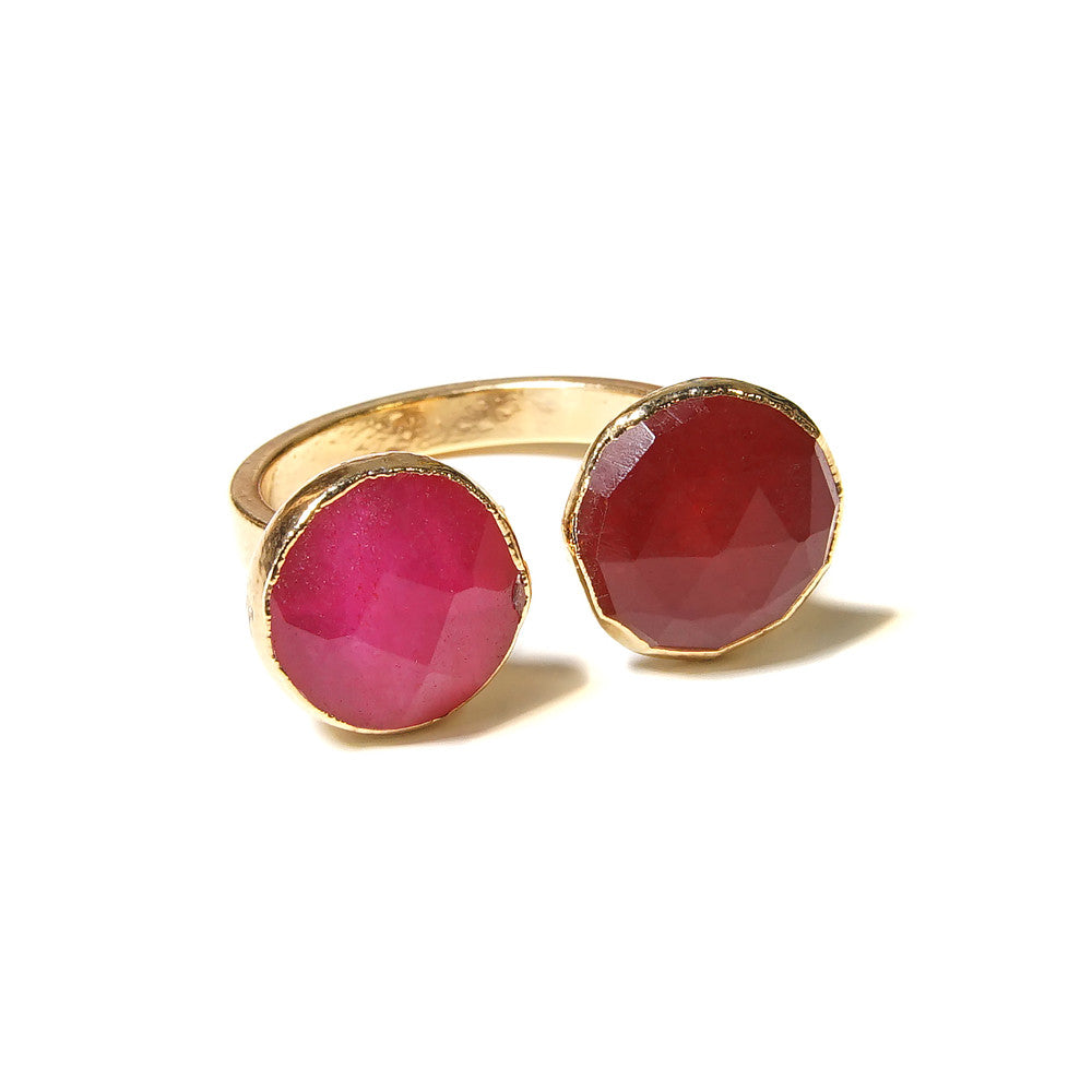 pink and red circle stone open ring