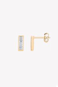 Diamond Baguette Bar Earrings | 14K Gold | Janna Conner